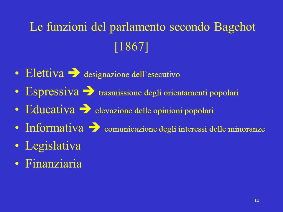 Le funzioni del parlamento secondo Bagehot [1867]